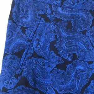 MADEWELL blue and black paisley pencil skirt